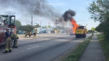 IMAGE: Driver burned when truck catches fire at Raleigh gas station
