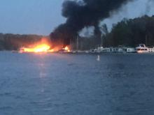 An April 13, 2017, fire at Satterwhite Point Marina on Kerr Lake destroyed three boats and damaged a fourth.