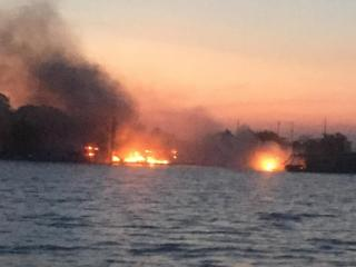 An April 13, 2017, fire destroyed three boats and damaged a fourth at Satterwhite Point Marina on Kerr Lake.