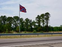 Large confederate flag getting attention along I-95