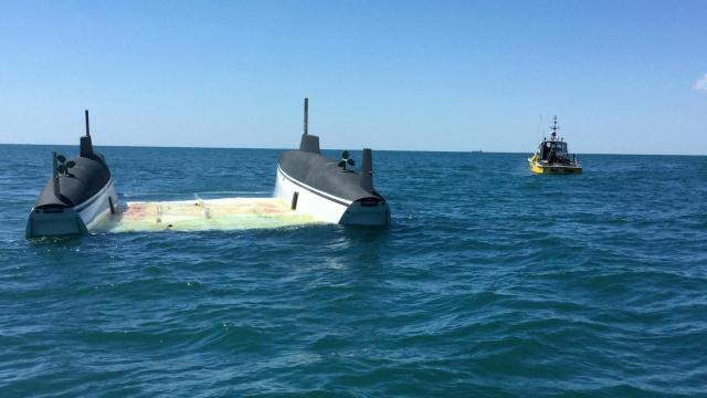 A catamaran yacht that disappeared from the Caribbean more than five month ago has turned up off Cape Lookout.