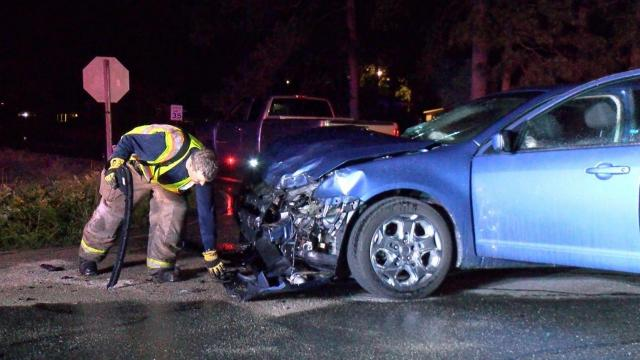 No one was seriously injured late Thursday night when a woman ran a stop sign and crashed into a vehicle driven by the chief of the Mar-Mac Fire Department.
