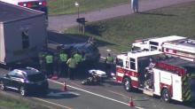 IMAGES: Car pinned under in-transit mobile home on US 70 in Garner after crash