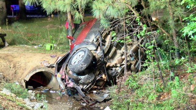 Three people on the way home from the hospital were injured early Tuesday morning when their SUV rolled over in Johnston County.