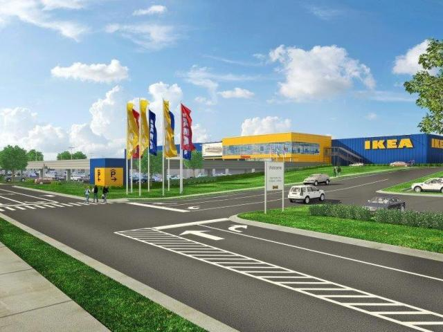 An architectural rendering of the proposed IKEA in Cary.