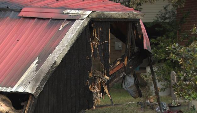 Shed ignites after driver crashes in Fayetteville