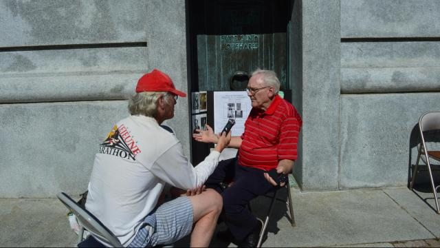 Sam Winstead, a 92-year-old World War II veteran, departed Saturday morning from the belltower at North Carolina State University for a 350-mile bike ride to Washington, D.C.