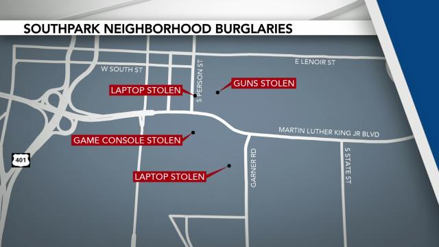 Map of homes targeted in Raleigh burglary spree