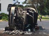 IMAGES: Driver killed in fiery fuel tanker crash in Clayton