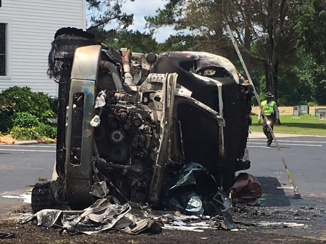 Driver killed in fiery fuel tanker crash in Clayton :: WRAL com