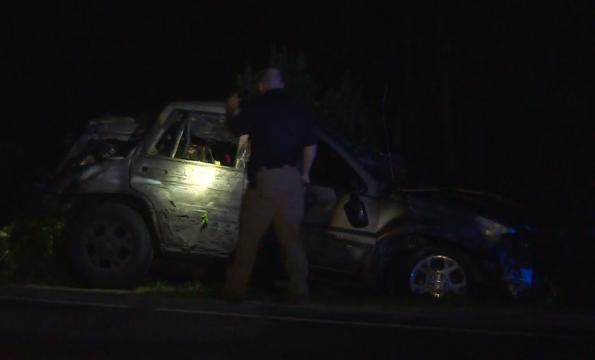 Jeep flips, catches fire in Harnett County; 2 dead