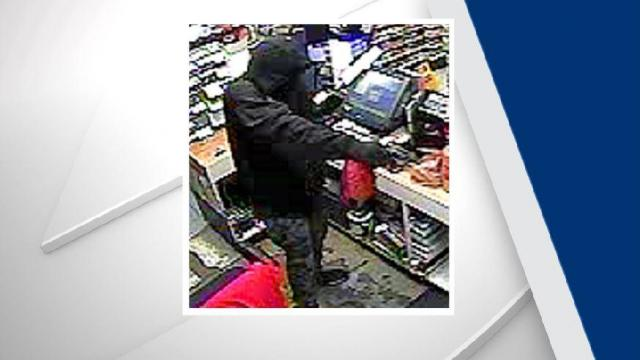 Officers with the Fayetteville Police Department are searching for a suspect wanted in connection with an armed robbery Wednesday night at a gas station on Reilly Road.