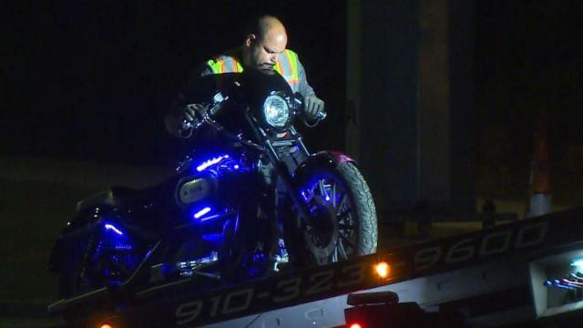 A motorcyclist was in critical condition early Saturday morning after he crashed his bike into the back of a car in Fayetteville.