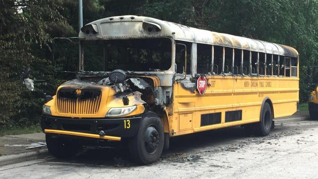 A Wake County schools bus was destroyed by fire while parked at Leesville Road High School, district officials said.