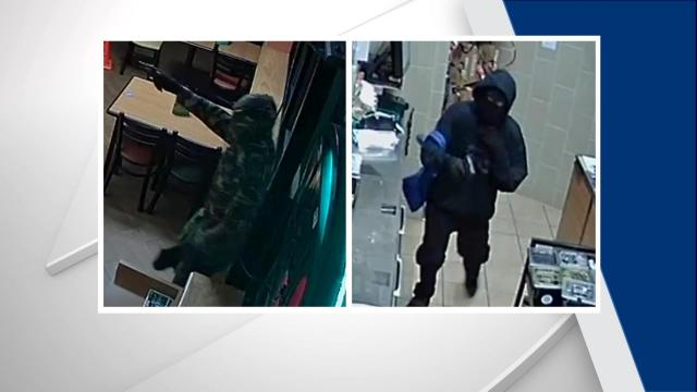 Fayetteville police are searching for two men wanted in connection with at least five armed robberies over the past two months.