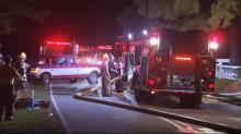 IMAGES: Crews battle house fire in Johnston County