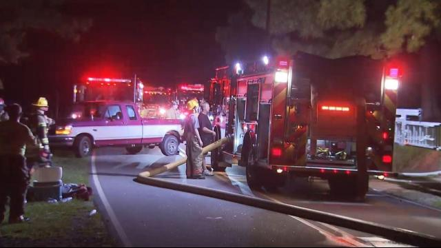 Crews battle house fire in Johnston County