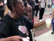 Woman shares lemonade in Durham