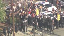 RAW: Police, protesters meet on Durham street