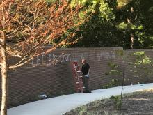 Wall vandalized at MLK Memorial Gardens in Raleigh