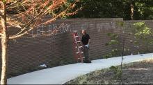 Wall vandalized at MLK Memorial Gardens in Raleigh