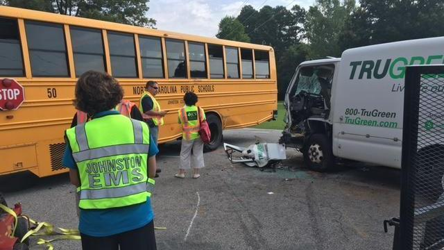 Person injured after school bus crash in Johnston County