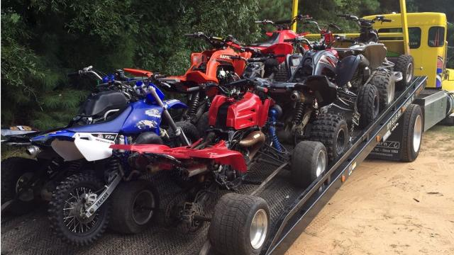 """Eighteen ATVs and motorcycles were seized during an Aug. 25, 2017, raid on a suspected """"chop shop"""" in Durham."""