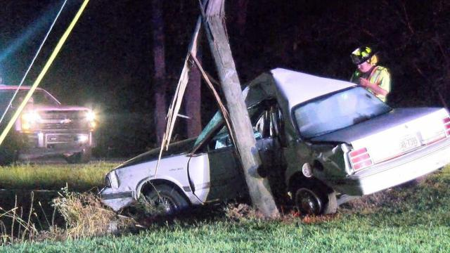 A driver died late Sunday night after he crashed his car into a power pole near Benson, officials said.