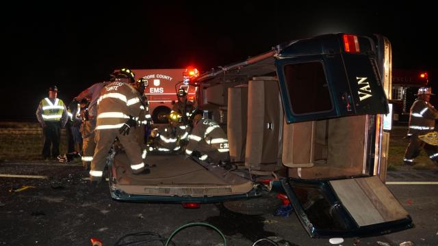 Seven women were injured Friday night when a church bus rolled over on U.S. Highway 1 in Moore County. Photo by Frank Staples