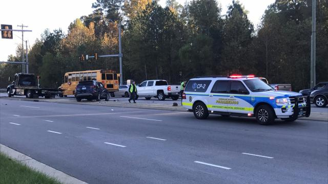 A school bus collided with a sport utility vehicle in Durham.