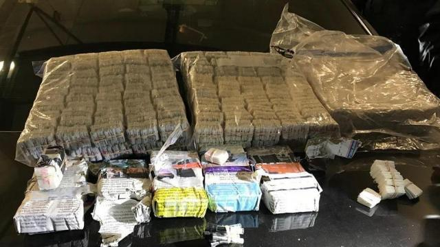 North Carolina authorities seized nearly 300 bricks of heroin over the weekend from a vehicle traveling from New Jersey. Photo from the Nash County Sheriff's Office