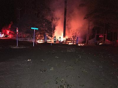 Pickup truck destroyed in fire after Moore County crash