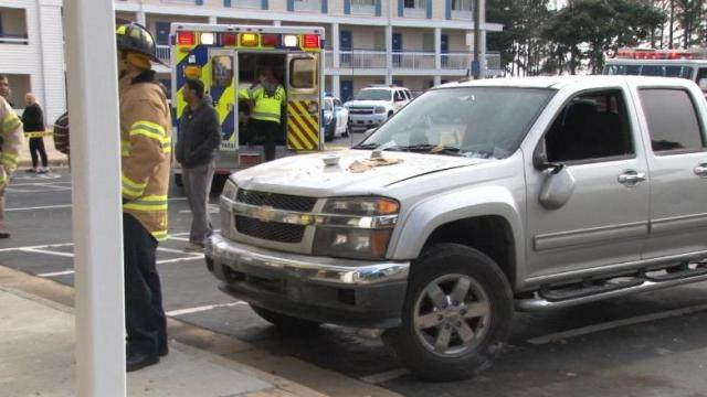 Truck crashes into Raleigh hotel room