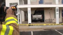 IMAGES: Truck crashes into Raleigh hotel room