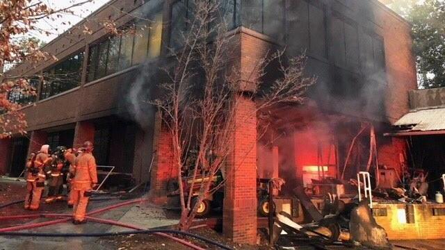 Crews battling fire at Cary office building