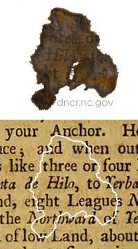 Paper fragment from Blackbeard ship