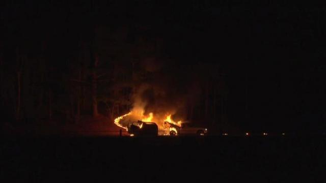 WRAL team witnesses fiery Johnston County crash