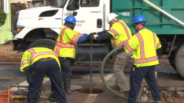 Crews worked to fix a water main that broke Saturday in north Durham.