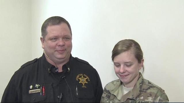 Soldier surprises her dad in Johnston County courtroom
