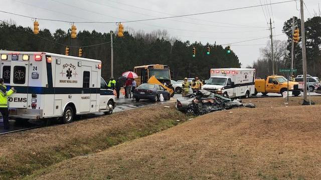 School bus involved in serious wreck near West Johnston High School