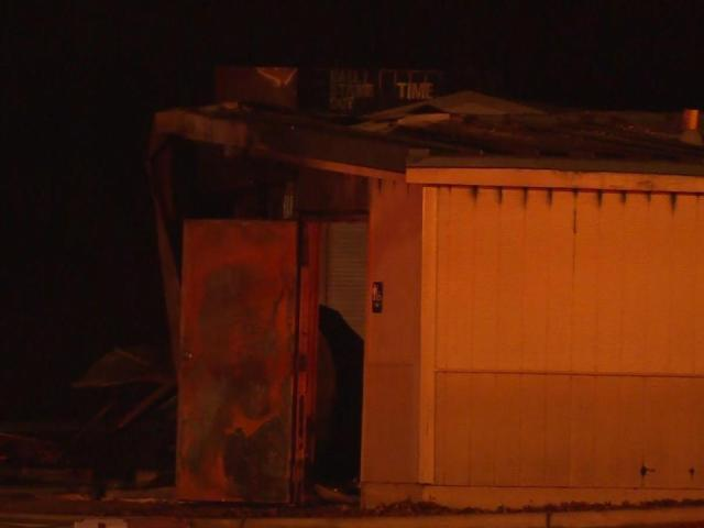 A fire destroyed an outbuilding early Saturday morning at Fayetteville's Myers Recreation Center, fire officials said.<br/>Photographer: Lori Pickel