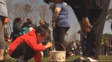 IMAGES: 'Raining different colors:' Raleigh church celebrates Easter by dumping 15,000 eggs from helicopter