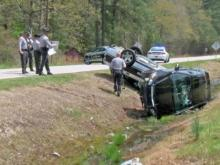 Stolen car, patrol vehicle overturn following Johnston County chase