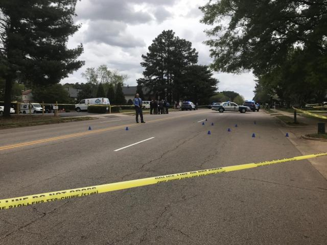 Police place bullet markers after a shooting in Raleigh in the 4000 block of Green Road near a daycare center <br/>Web Editor: Alfred Charles<br/>Reporter: Kasey Cunningham