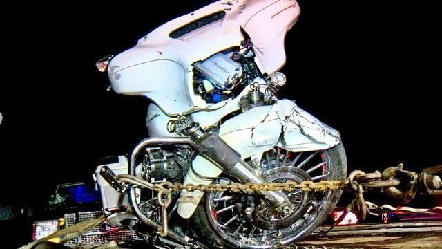 A motorcyle after it collided with a truck on April 27, 2018.