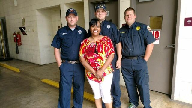 Firefighters with mom