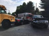 IMAGES: Student injured when school bus crashes in Clayton