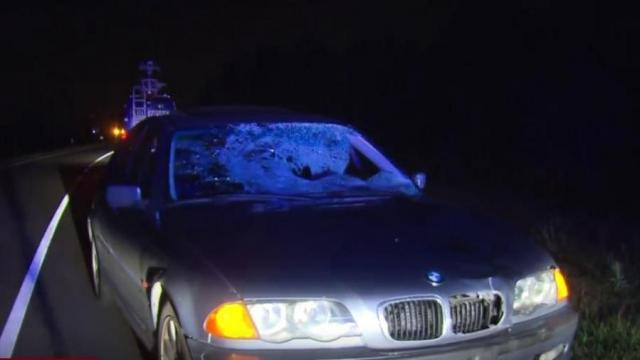 BMW after crash in Harnett County