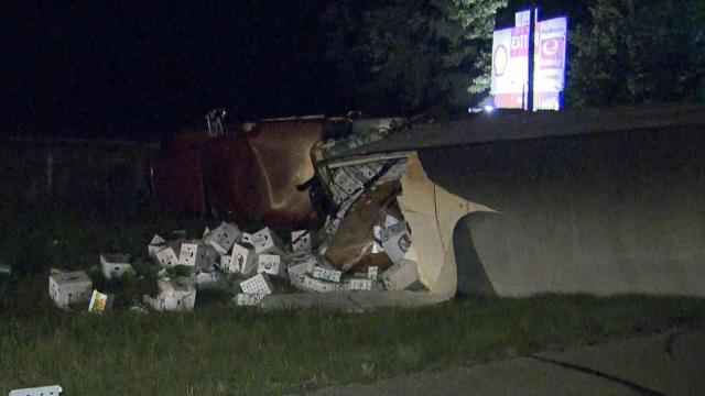 Produce truck overturns on Cumberland County highway