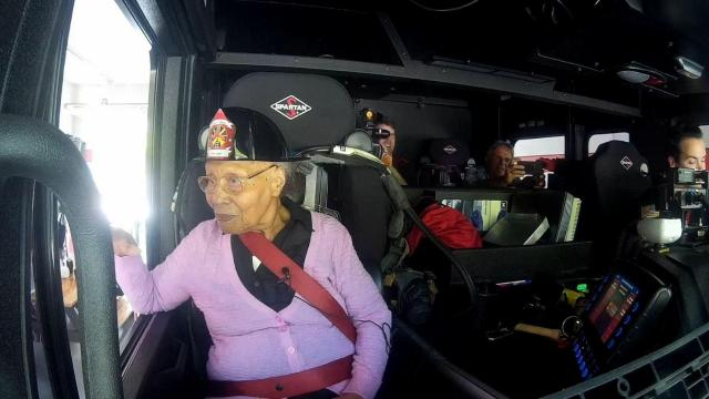 Holly Springs' oldest resident gets fire truck joy ride to celebrate 103rd  birthday